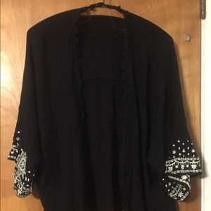 Xhilaration black with white embroidery kimono